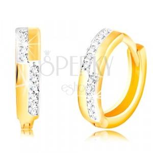 Okrągłe kolczyki z 14K złota - gładkie pasy i linie przezroczystych cyrkonii
