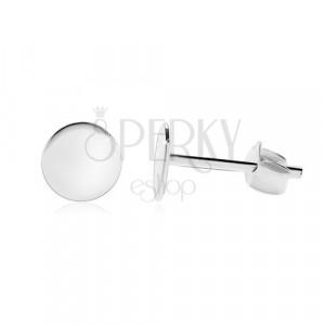 Kolczyki ze srebra 925 - błyszczące płaskie kółko, zapięcie na sztyft