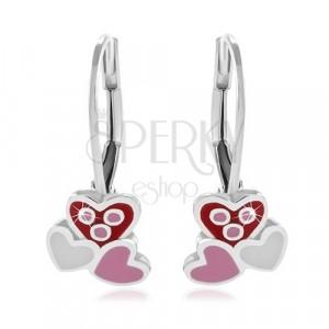 Srebrne 925 kolczyki, trzy różowe i białe emaliowane serca