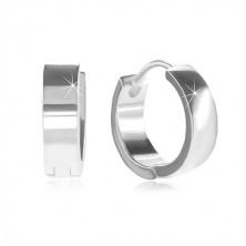 Okrągłe kolczyki ze srebra 925 z zapięciem kajdankowym, błyszcząca i gładka powierzchnia
