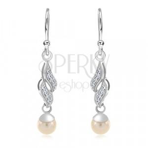 Srebrne 925 kolczyki, dwie cyrkoniowe fale, biała okrągła perła