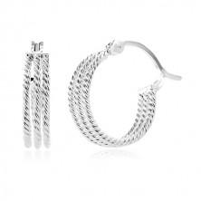 Kolczyki ze srebra 925 - trzy prążkowane obręcze, 15 mm