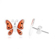Srebrne 925 kolczyki, motyl z pomarańczowymi emaliowanymi skrzydłami