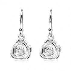 Kolczyki ze srebra 925, kwitnąca róża na biglach