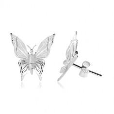 Srebrne 925 kolczyki, motyl z wygrawerowanymi nacięciami na skrzydłach