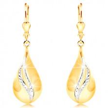 Kolczyki z 14K złota - duża błyszcząca kropla, falujące pasy z białego złota.