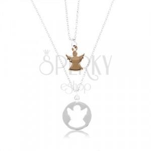 Dwa naszyjniki ze srebra 925 - okrąg z wyciętym aniołem i aniołem w kolorze miedzi