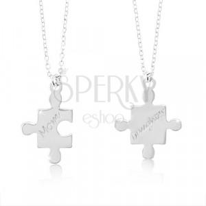 Srebrne naszyjniki 925 - rozdzielone puzzle z napisem Mom i Daughter