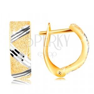 Złote 14K kolczyki - błyszcząca piaskowana powierzchnia, zygzak linią z białego złota
