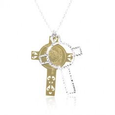 Srebrny 925 naszyjnik, rzeźbiony krzyż z Jezusem złotego i srebrnego koloru