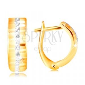 Złote 14K kolczyki - błyszcząca szlifowana powierzchnia, linia z białego złota w środku