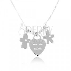 Srebrny naszyjnik 925, serce z napisem Love you MOM, chłopiec i dziewczynka