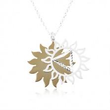 Srebrny 925 naszyjnik, rzeźbione słońce w dwukolorowej kombinacji