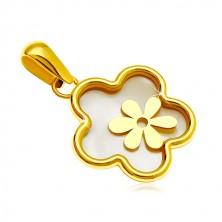 Zawieszka z żółtego 14K złota - kwiat z perłowym wypełnieniem i mniejszym kwiatem
