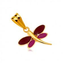 Zawieszka z żółtego 14K złota - ważka z bordową i fioletową emalią na skrzydłach