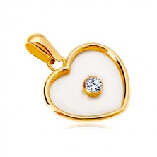 Zawieszka z żółtego 14K złota - serce z perłowym wypełnieniem i bezbarwną cyrkonią pośrodku