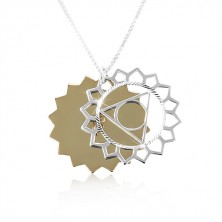Srebrny naszyjnik 925, dwukolorowe rzeźbione słońce, błyszczące nacięcia