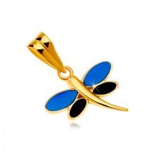 Zawieszka z żółtego złota 585 - ważka z emalią niebieskiego i czarnego koloru na skrzydłach