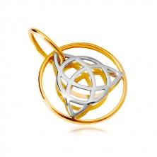 Złota 14K zawieszka - dwukolorowy węzeł celtycki w cienkiej obręczy