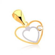 Zawieszak z 9K złota - delikatny podwójny zarys serca, bezbarwna cyrkonia