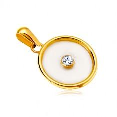 Zawieszka z żółtego 14K złota - okrąg z perłowym wypełnieniem i bezbarwną cyrkonią pośrodku