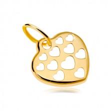 Złoty wisiorek 585 - lśniące serca ozdobione powycinanymi sercami