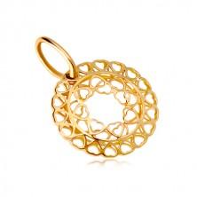 Zawieszka z żółtego złota 585 - krąg z połączonych małych serc