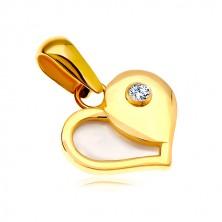 Złota 14K zawieszka - serce z połową z białej perły i okrągłą cyrkonią.