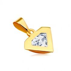 Zawieszka z żółtego 14K złota - kontur diamentu, błyszcząca bezbarwna cyrkonia