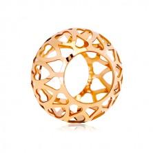Zawieszka z różowego 14K złota - pusty walec z rzeźbionymi sercami
