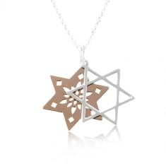 Naszyjnik ze srebra 925, podwójna gwiazda z wycięciami, miedziany i srebrny kolor