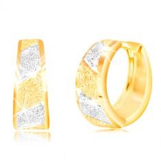 Złote 14K kolczyki - błyszczące piaskowane pasy z żółtego i białego złota