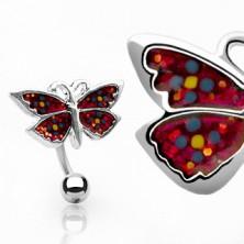 Piercing do pępka kwiatuszkowy motylek