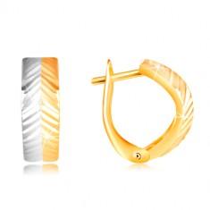 Złote kolczyki 585 - wypukły łuk z ukośnymi nacięciami, żółte i białe złoto