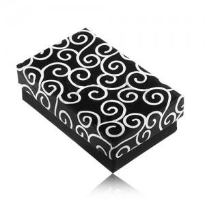 Prostokątne pudełeczko na kolczyki i pierścionek, czarne z białymi ornamentami
