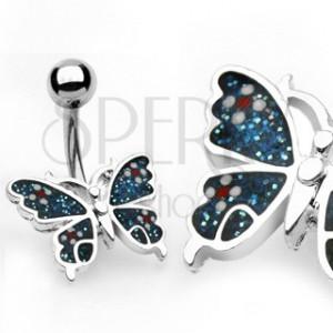 Piercing do pępka motyl, kwiaty