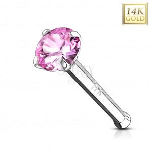 Prosty piercing do nosa z białego złota 585 - różowa okrągła cyrkonia, 2 mm