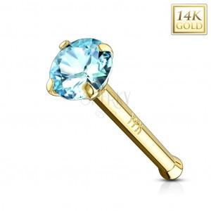 Złoty piercing do nosa 585 - prosty kształt, jasnoniebieska cyrkonia, żółte złoto, 2 mm