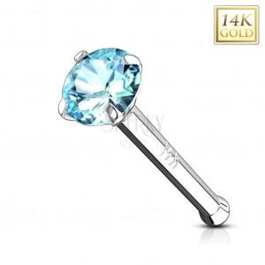Złoty piercing do nosa 585 - prosty kształt, białe złoto, jasnoniebieska cyrkonia, 2 mm
