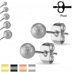 Kolczyki ze stali 316L, piaskowane błyszczące kuleczki, 5 mm