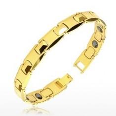 """Bransoletka z Tungstenu złotego koloru - błyszczące """"H"""" elmenty, piramidy, kulki magnetyczne"""