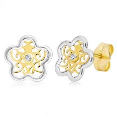 Kolczyki ze złota 585 - dwukolorowy kwiat z ornamentem i przezroczystą cyrkonią