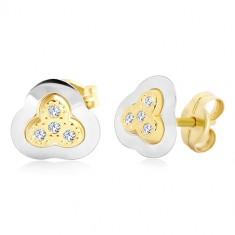 Kolczyki z 14K złota - dwukolorowy trzylistek z osadzonymi cyrkoniami