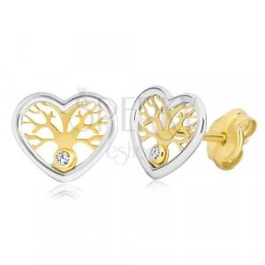 Kolczyki ze złota 585 - dwukolorowe serce z drzewem życia i cyrkonią
