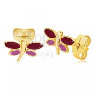 Kolczyki z żółtego 14K złota - ważka z bordową i fioletową emalią na skrzydłach