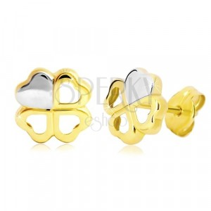 Kolczyki z 14K złota - dwukolorowa czterolistna koniczyna na szczęście, wkręty