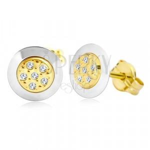 Kolczyki z 14K złota - koło z bezbarwnymi cyrkoniami pośrodku, żółte i białe złoto