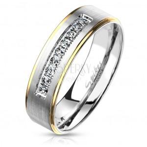Dwukolorowy pierścień ze stali, srebrny i złoty odcień, przezroczyste cyrkonie, 6 mm