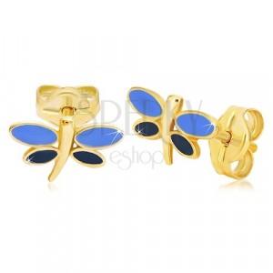 Kolczyki z żółtego 14K złota - ważka z niebieską emalią na skrzydłach