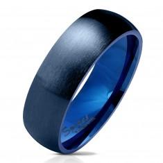 Stalowa obrączka w ciemnoniebieskim odcieniu, matowa i wypukła powierzchnia , 6 mm